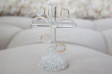 High Quality Vintage Hand Blown Glass Cross w/ Gold Trim Decor Figurine Holy