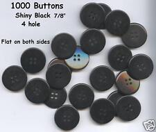 "1000 Black Large Shiny Buttons 7/8"" beautiful 4 hole costumes uniforms plays"