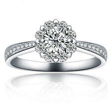 18K White Gold Filled with Silver Flower Wedding Bridal Engagement Ring R100