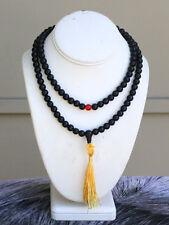 Big 108 8mm Black Agate Prayer Beads Yoga Meditation Golden Tassel Mala Necklace