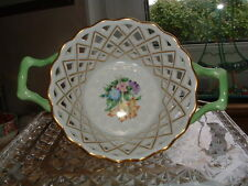 Belle Herend Hungary Peint Main Floral Porcelaine Panier coupe en OR & ROSE