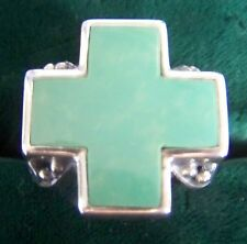 NEW ~ RING, GENUINE TURQUOISE CROSS AND 925 STERLING SILVER RING SIZE: 8.5~NEW