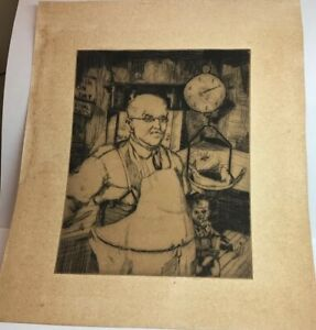 Knute Heldner Dry Point Etching Print Fish Merchant New Orleans c 1933 Americana