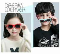 Kids Polarized Sunglasses UV400 Rectangular Boys Girls Shades Fashion Retro I373