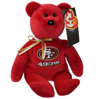 "TY NFL 8"" San Francisco 49ERS Red Beanie Football Bear MWMT's Heart Tags"