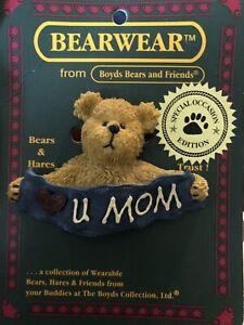 "Boyds Bear Bearwear ""Love You Mom"" Vintage Retired Brooch 82511 Bears & Hares SE"