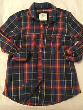 NWT Women's Abercrombie & Fitch Red/Blue/Yellow Check button down Shirt, M