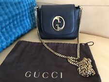 Gucci 1973 Black Calfskin Leather Small Gold Chain Bag Crossbody Purse SOLD OUT