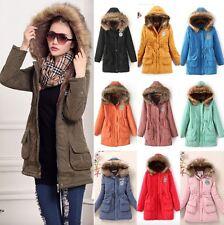 Ladies Warm Thick Jacket Winter Furry Fur Hood Mid Cinch Waist Parka Soft Coat