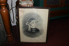 Antique Victorian Pencil Charcoal Drawing Woman Wearing Hat-Signed Mildred Gage