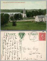 SAND LAKE N.Y. GLASS LAKE & M.E. CHURCH 1918 ANTIQUE POSTCARD