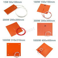 15W - 1000W 110V - 220V Silicone Heater Heated Bed Pad Heating Mat 3D