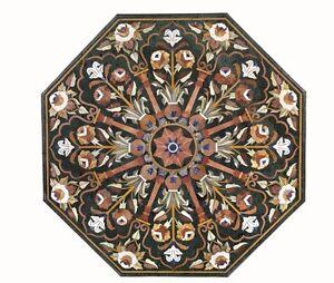 "60"" Green Marble Table Top Pietra Dura Floral Inlay Handicraft Home Decor"