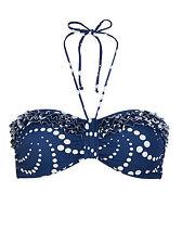 BNWT Nuevo Lepel Chica Spot Azul Marino Blanco Bikini Top Talla 8