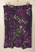 "DANA BUCHMAN Womens Skirt Sz M Elastic Purple Green Black Geometric 25"" Length"
