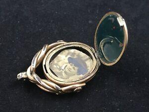 RARE Victorian swivel pocket watch fob LOCKET, bloodstone, carnelian, antique