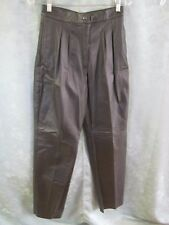 Vintage Comit High Waist Pleated Black Leather Pants Nwt Size 11 / 12 Lined