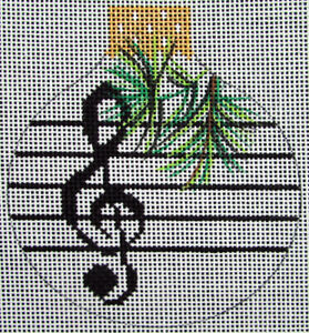 HP Needlepoint 18ct WHIMSY&GRACE Christmas Ornament Music Treble Clef-OZ35