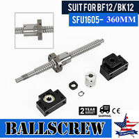 L=360mm SFU1605 Ballscrew Anti-backlashed BF12/BK12 End Support +Coupler Set USA