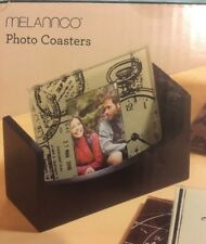 Coasters  Melannco 4 Pack Travel Inspired Photo Coasters NEW Wooden Stand