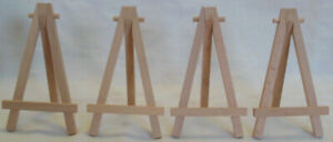 """Set of 4 WOOD EASELS 5"""" x 2.75"""" x 3"""" When Open"""