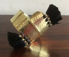 Lovely Gold Tone Cuff New With Straw Tassels