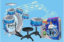 6Pcs Big Band Jazz Kids Drum Set Kit Childs Play Music Toy Mini Musical Blue