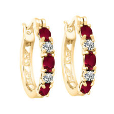 2.00 Ct Created Ruby Hoop Earrings with Diamonds in 14K Yellow Gold Over Brass