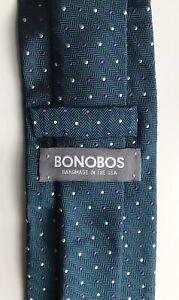 "Bonobos Tie, Purple - White Polka Dots on Green, 3"" Width, New-w/o-Tags!"
