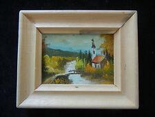 Ölbild mit Holzrahmen, handgemalt, Landschaft mit Kirche (meine Pos-Nr. 04)