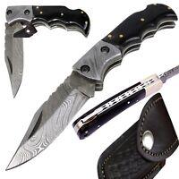 Damascus Steel Folding Pocket Knife Handmade Hand Forged Piece Of Art 6.5 Inch