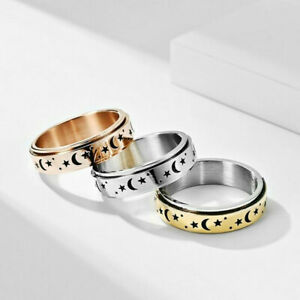 Mens Anxiety Spinner Ring Stainless Steel Moon Star Wedding Band Comfort Fit Acc