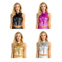 Sexy Women's Shiny Wet Look Leather Turtleneck Shirt Crop Tops Tank Tops Blouse