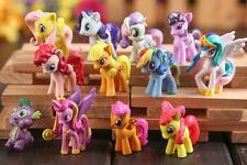 Lot of 12 My Little Pony Action Figures Set Spike Celestia Rainbow Dash Pony Mlp