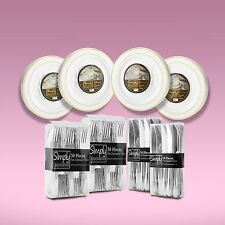 280 Piece Disposable Dinner Set With Gold Rims For 80 People