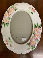Raised Floral Pattern Ceramic Oval Picture Frame