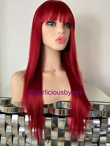 Red Wig Straight With Bangs 22 Inch Long Heat Ok
