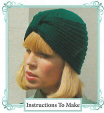 Vintage *Knitting pattern*-instructions how to make stylish turban style hat