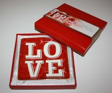 PIER 1 IMPORTS PLATE SQUARE RED PORCELAIN LOVE TRINKET TRAY ST VALENTINE'S
