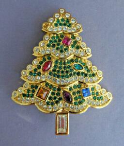 3D VINTAGE LARGE GOLD TONE Swarovski CHRISTMAS TREE Brooch PIN