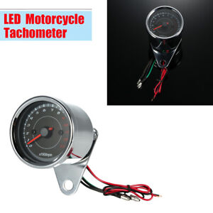 12V Motorcycle 13000 RPM LED Tachometer Speedometer Gauge Stainless Steel Shell