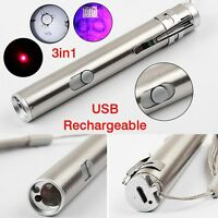 3 in1 Mini Multifunction USB Rechargeable LED Laser UV Torch Pen Flashlight Tool