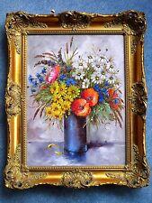 Ölgemälde - oil on canvas - Blumenvase - signiert JA Hansen - Ölbild