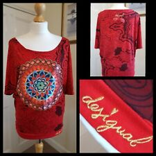 Desigual Red  Batwing Relaxed Look Top Size Small
