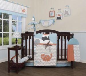 Blue Gray Orange Dinosaur 13pc Crib Bedding Set Baby Nursery Quilt Diaper Bumper