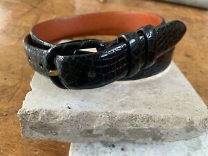 Ralph Lauren Black Genuine Alligator Belt, Men's Size 34