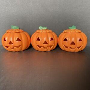 "Vintage Russ Halloween Ceramic Pumpkin Jack-O-Lantern Tea Light Candle Holder 5"""