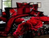 3D Red Rose Queen Big Size Bedding Vogue Set 4 Pcs Sheet Duvet Cover Pillowcases