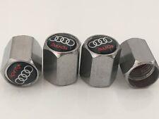 4 x Chrome Audi Tyre Valve Dust Caps A4 A5 A3 Q5 Q7 Alloy Wheel New S Line A6
