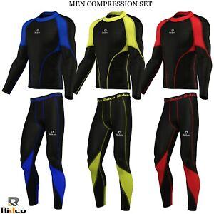 Ridco Men Compression Shirts+Tights Set Yoga Shirt Gym Fitness Top Exercise Pant